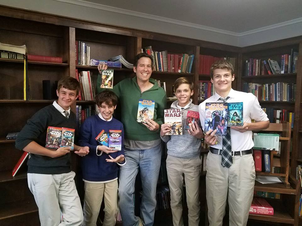 Matt Wilkin's at a school library donating Star Wars Expanded Universe Legends books